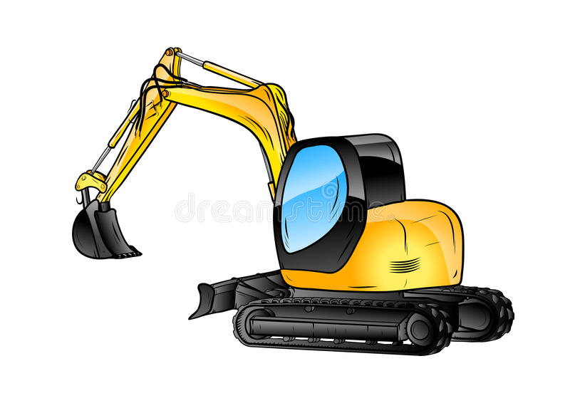 Excavator isolated. On the white background vector illustration
