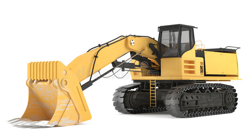 Excavator isolated. At the white background stock illustration