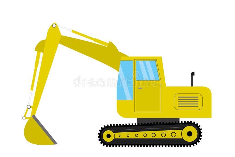 Excavator isolated on white background. Flat vector illustration stock illustration