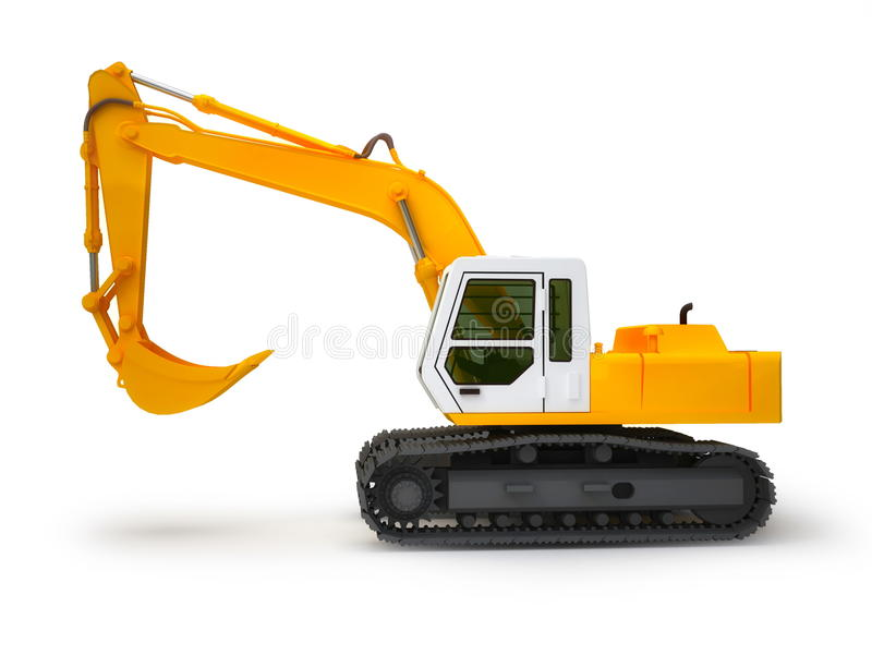 Excavator. Isolated on white background. Left view stock illustration