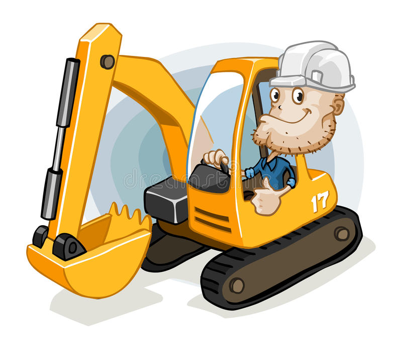 Excavator with Labor. Detailed illustration in isolated in white royalty free illustration