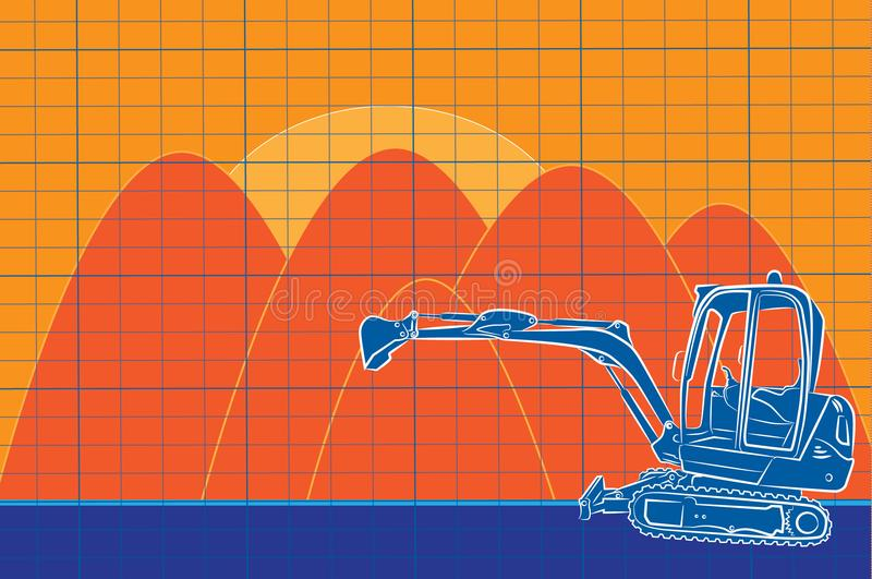 Excavator line art drawing color construction site stock illustration