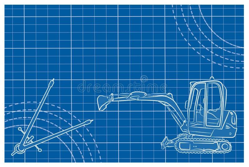 Excavator line art drawing with blueprint stock vector download excavator line art drawing with blueprint stock vector illustration of build excavation malvernweather Choice Image