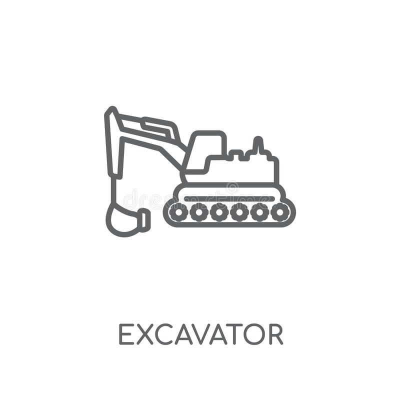 Excavator linear icon. Modern outline Excavator logo concept on. White background from Construction collection. Suitable for use on web apps, mobile apps and vector illustration