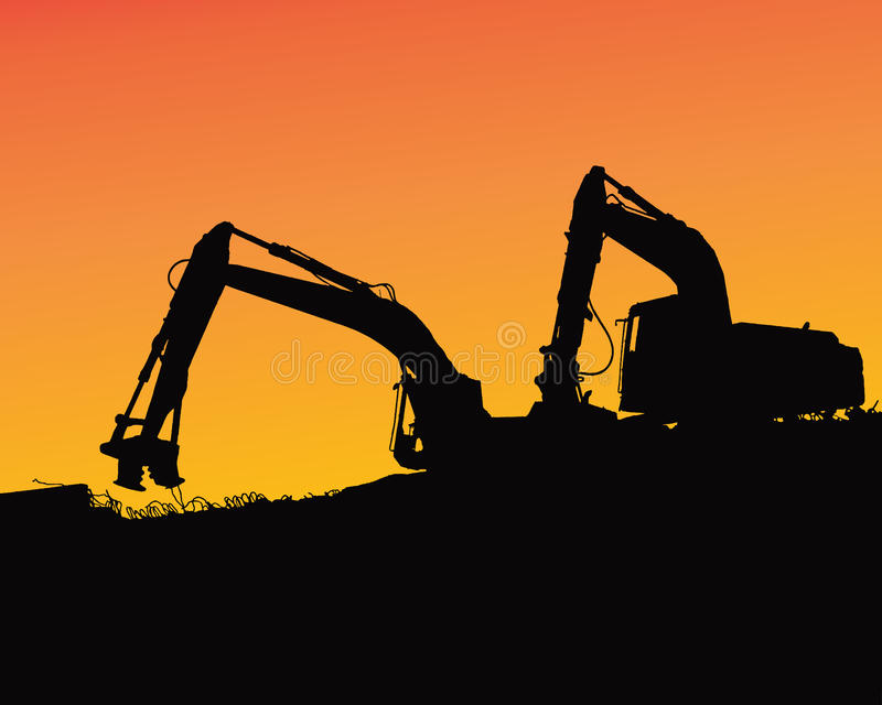 Excavator loaders, tractors and workers digging at industrial construction site vector background illustration royalty free illustration