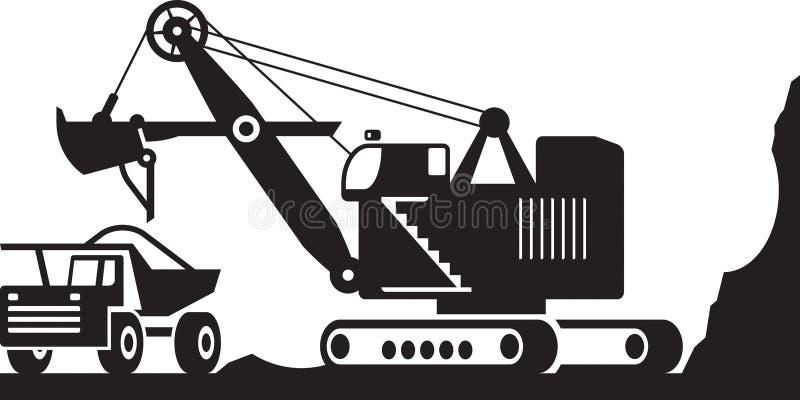 Excavator loading heavy duty truck with ore. Vector illustration stock illustration