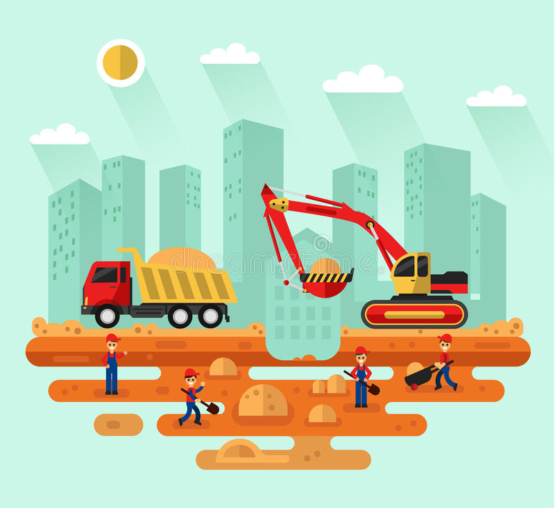 Excavator loading sand into a truck vector illustration