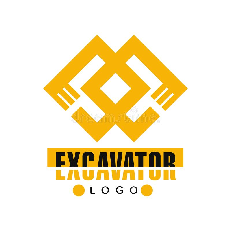 Excavator logo, backhoe service label vector Illustration. On a white background royalty free illustration