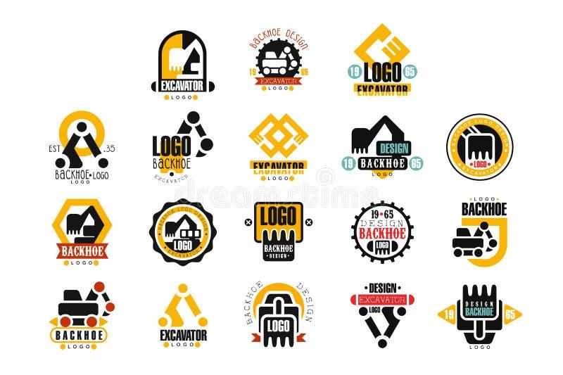 Excavator logo design set, backhoe service vector Illustrations. On a white background royalty free illustration