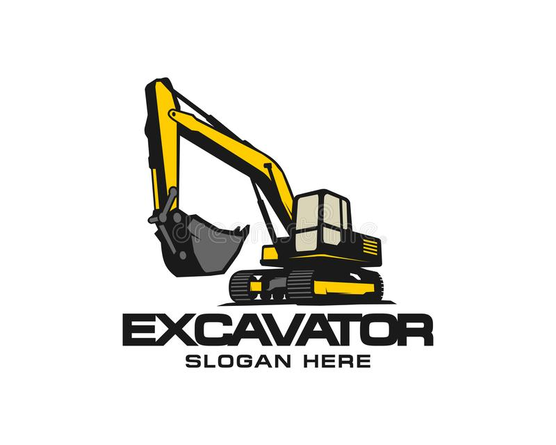 Excavator logo template vector. Heavy equipment logo vector for construction company. Creative excavator illustration for. Logo template royalty free illustration
