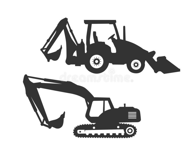 Excavator logo template vector. Heavy equipment logo vector for construction company. Creative excavator illustration for logo. Template royalty free illustration
