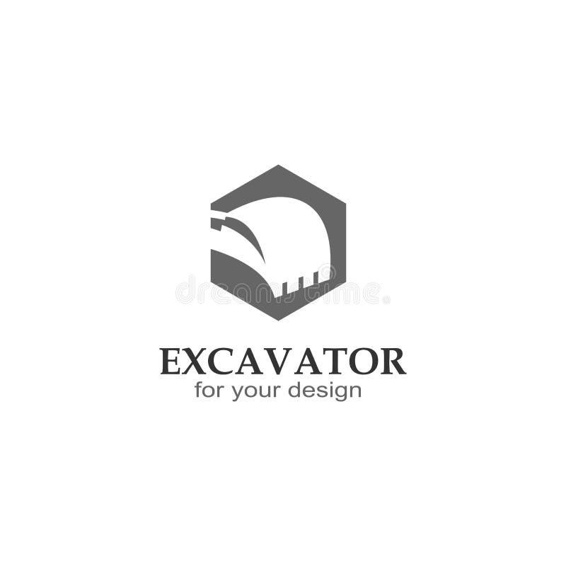 Excavator logo vector illustration design. Simple excavator logo, with hexagon design, vector silhouette illustration logo stock illustration