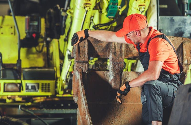 Excavator Machine Repair royalty free stock image