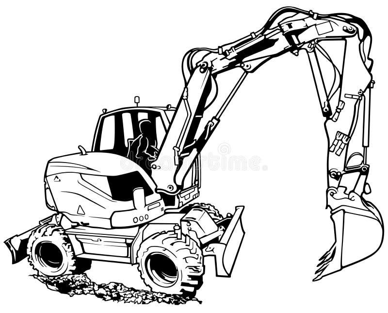 Excavator Machine in Work. Black and White Illustration, Vector vector illustration