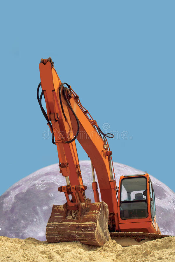 Excavator & Moon. Concept Of Power. Royalty Free Stock Image
