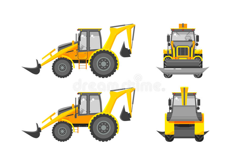 Excavator number one. Set stock vector illustration loader front, side, back view in flat style white background Element for site, infographics, video, animation stock illustration