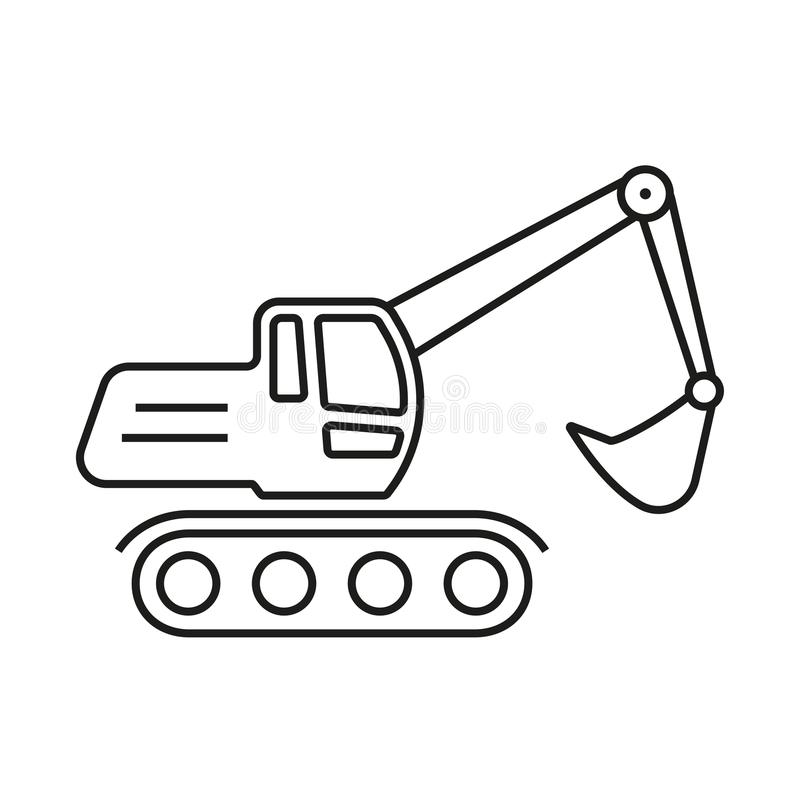 Excavator outline icon. Digger symbol. Vector illustration. Excavator outline icon. Digger symbol. Vector illustration royalty free illustration