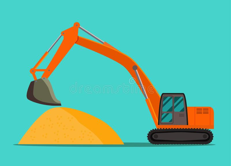Excavator and pile of sand isolated. Vector flat style illustration royalty free illustration