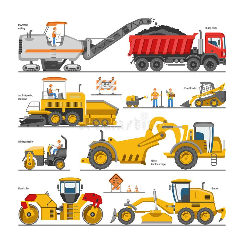Excavator for road construction vector digger or bulldozer excavating with shovel and excavation machinery illustration stock illustration