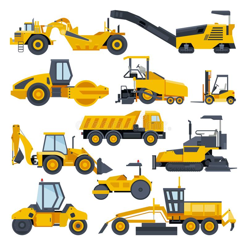 Excavator road construction vector digger or bulldozer excavating with shovel and excavation machinery illustration set vector illustration