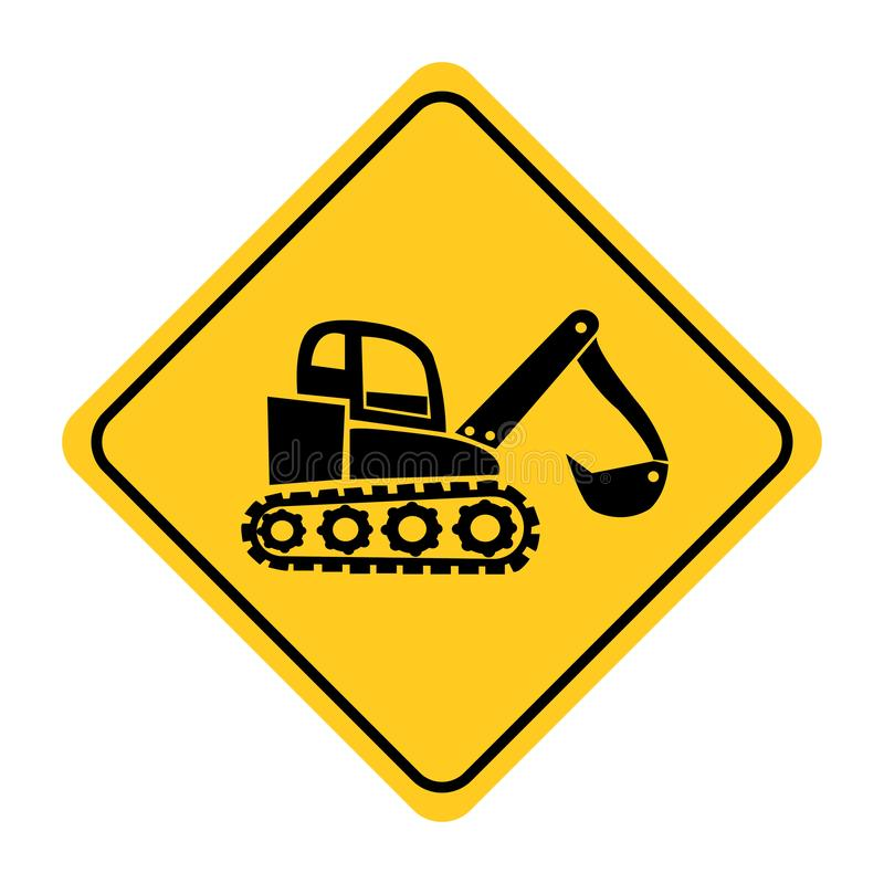 Excavator Road sign. On yellow background drawing by illustration stock illustration