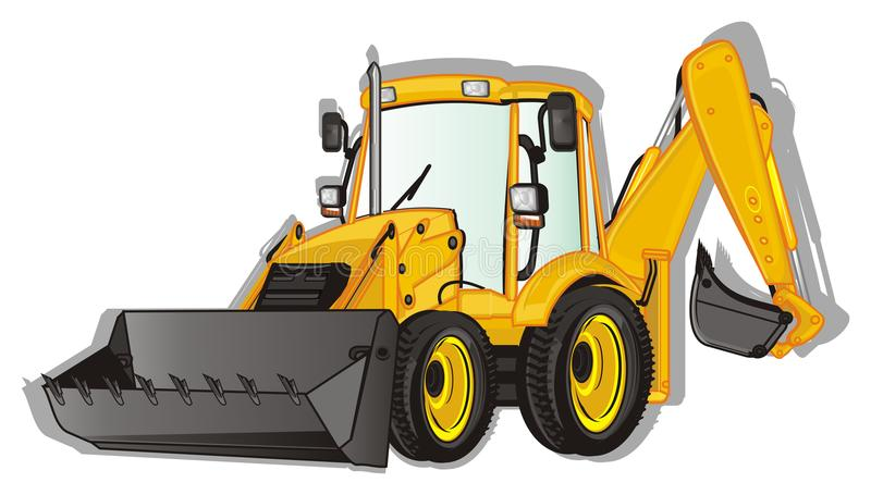 Excavator and shadow. Yellow excavator with his gray shadow vector illustration