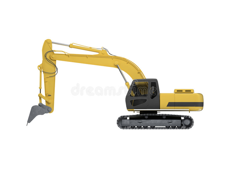 Excavator side view royalty free illustration