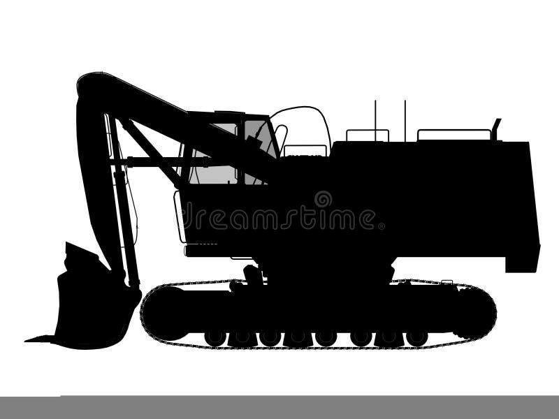 Excavator silhouette. Outline for web design vector illustration