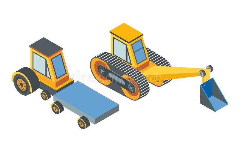 Excavator and Transport with Cargo Place Belt. Excavator and transport with cargo place conveyor belt isolated icons vector. Machinery used in constructions and royalty free illustration