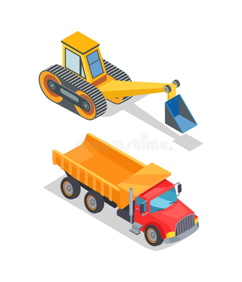 Excavator and Truck with Empty Loading Container. Vector. Industrial and transportation machinery, equipment with shovel and bucket, bulldozer loader stock illustration