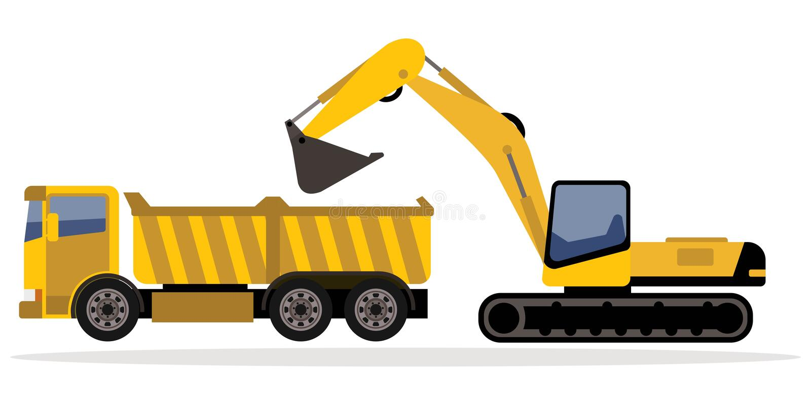 Excavator and truck. Isolated on white background stock illustration