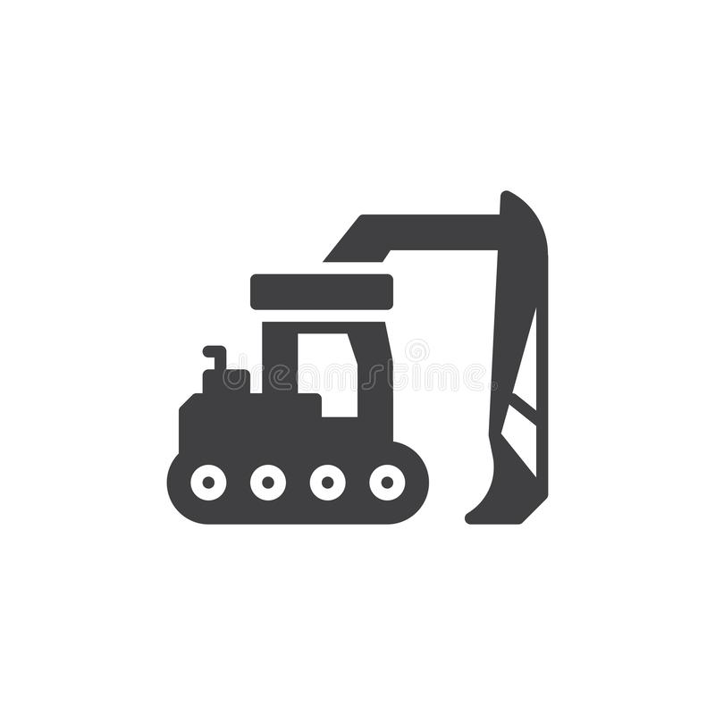 Excavator truck vector icon. Filled flat sign for mobile concept and web design. Digging machinery glyph icon. Construction machine symbol, logo illustration vector illustration