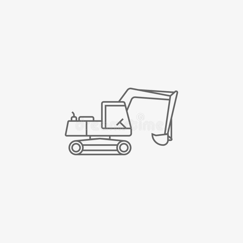 Excavator vector icon. Excavator outline vector icon illustration vector illustration