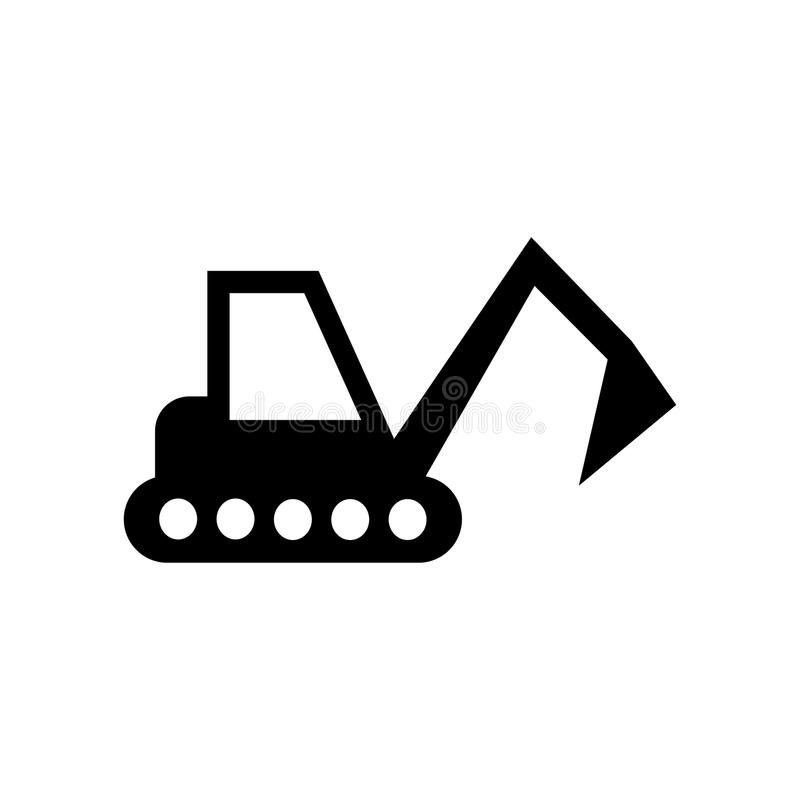 Excavator vector icon. Illustration isolated for graphic and web. Design royalty free illustration