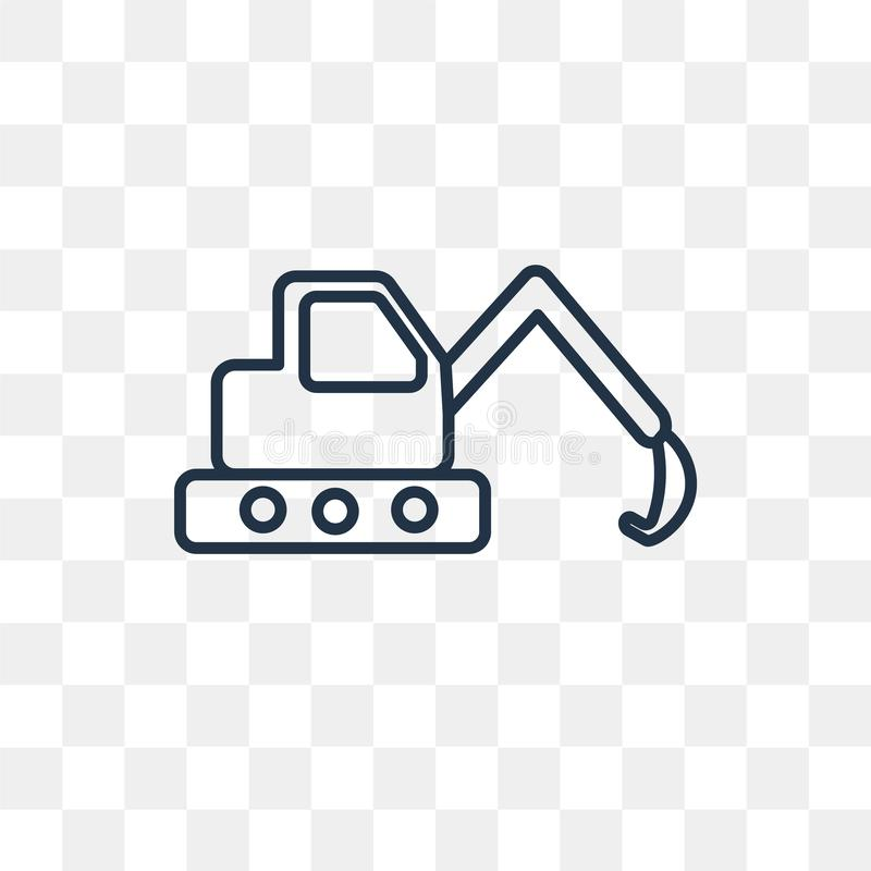 Excavator vector icon isolated on transparent background, linear. Excavator vector outline icon isolated on transparent background, high quality linear Excavator stock illustration
