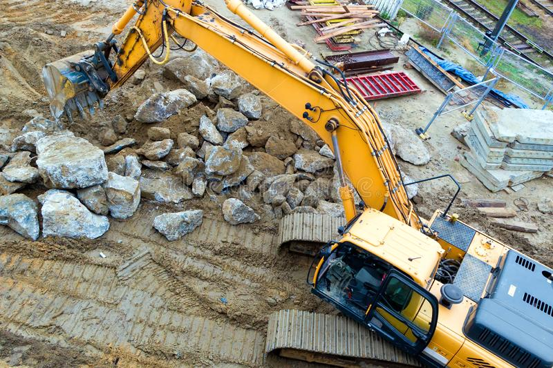 Excavator. view of top. Excavator at a construction site. view of top stock photo