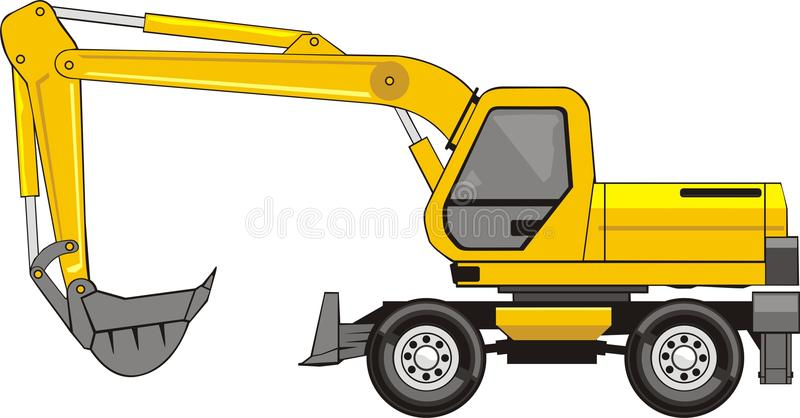 Excavator on a wheels vector illustration