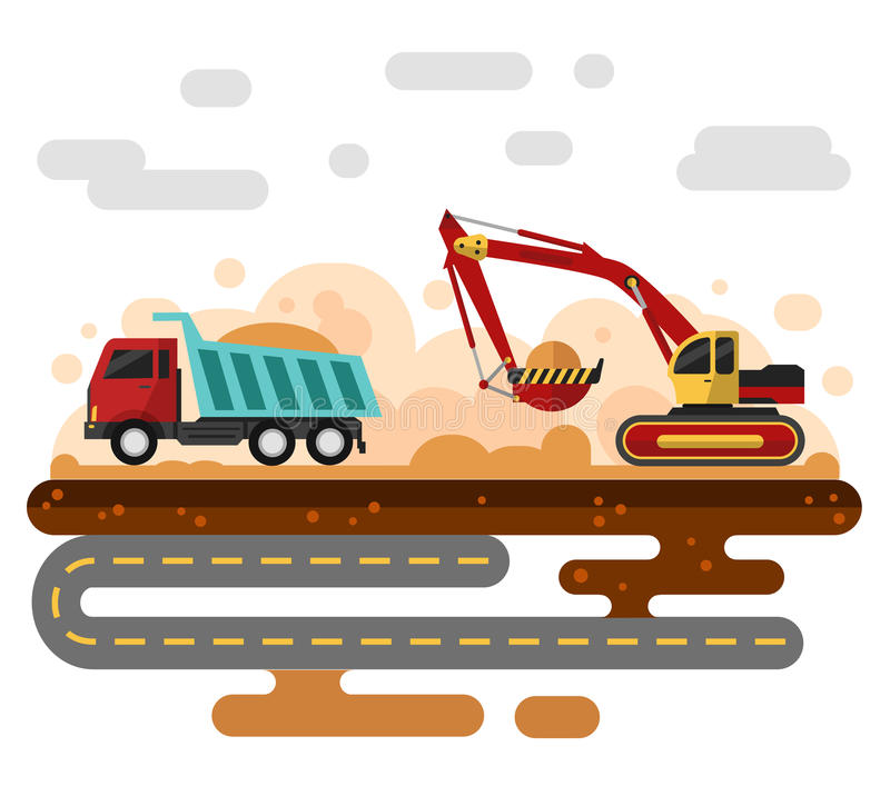 Excavator in work. Flat style vector illustration of excavator in work. Excavator loading sand into a truck. Industrial landscape, construction process stock illustration