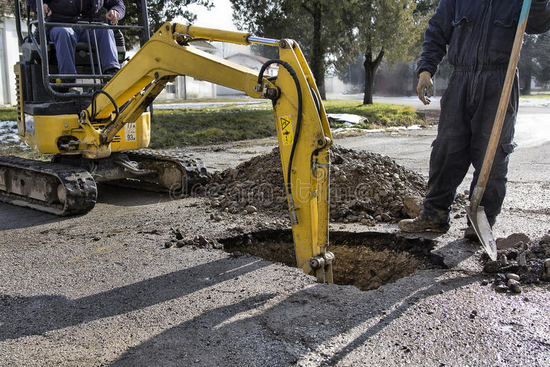 Excavator- Work in progress stock photography