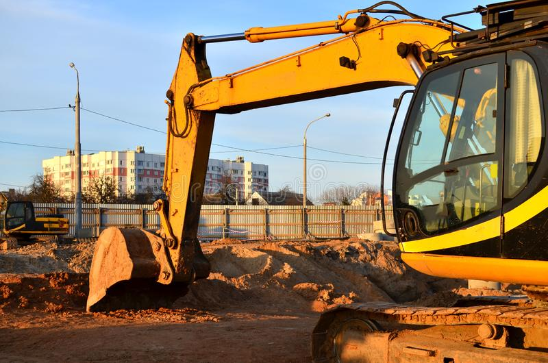 Excavator worked on a construction site. Excavation royalty free stock images