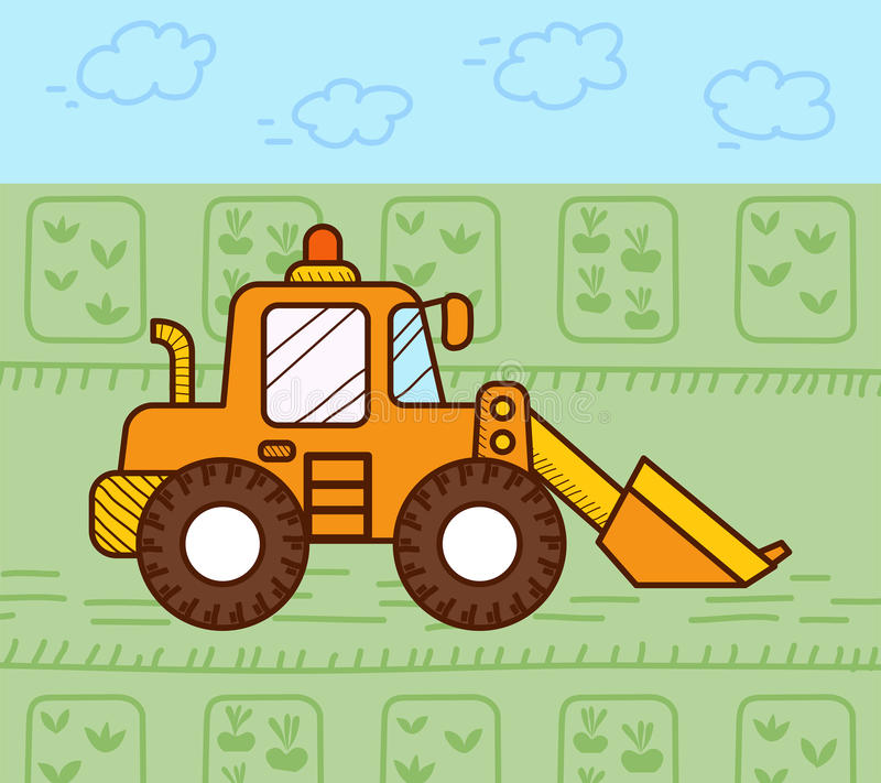 Excavator works. In the field royalty free illustration