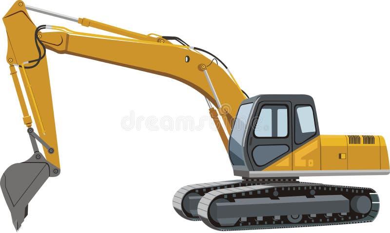 Excavator. Yellow excavator on caterpillar tracks royalty free illustration