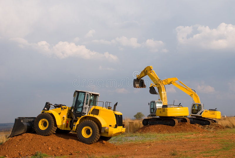 Excavators and Bulldozer royalty free stock images