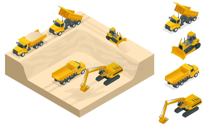 Isometric excavators and bulldozers dig a pit on the sand quarry. Excavators and bulldozers dig a pit on the sand quarry. A high-mining industry machinery royalty free illustration