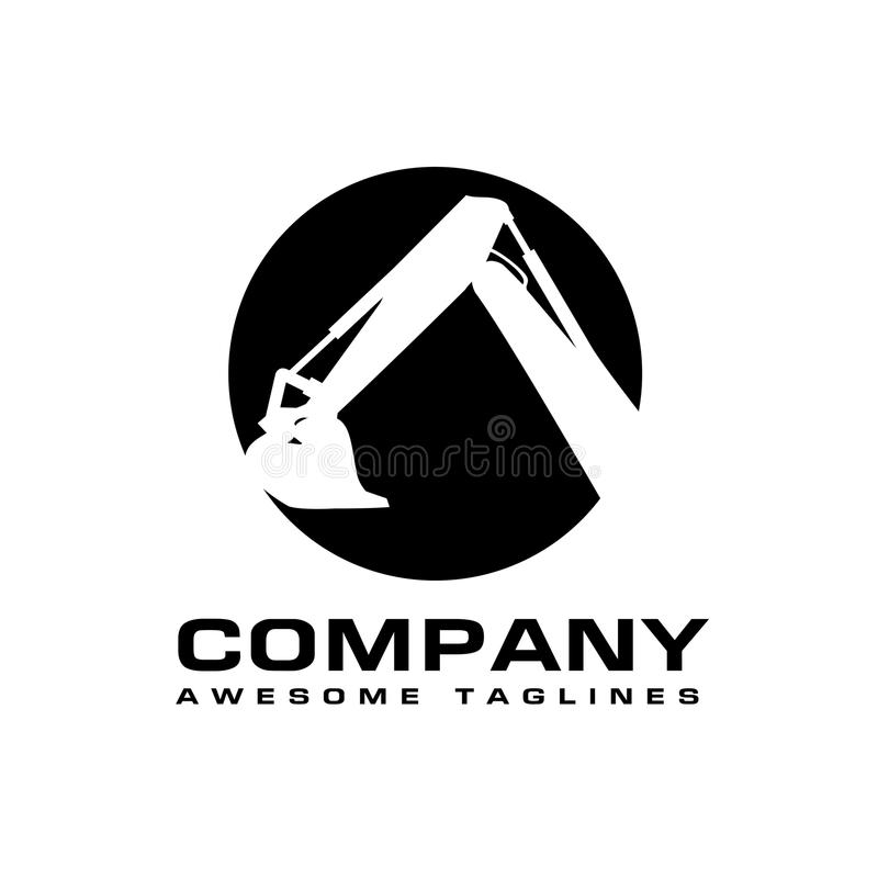 Excavators Construction machinery logo. Hydraulic mining excavator vector logo,. Heavy construction equipment symbol with boom dipper and bucket. Construction vector illustration