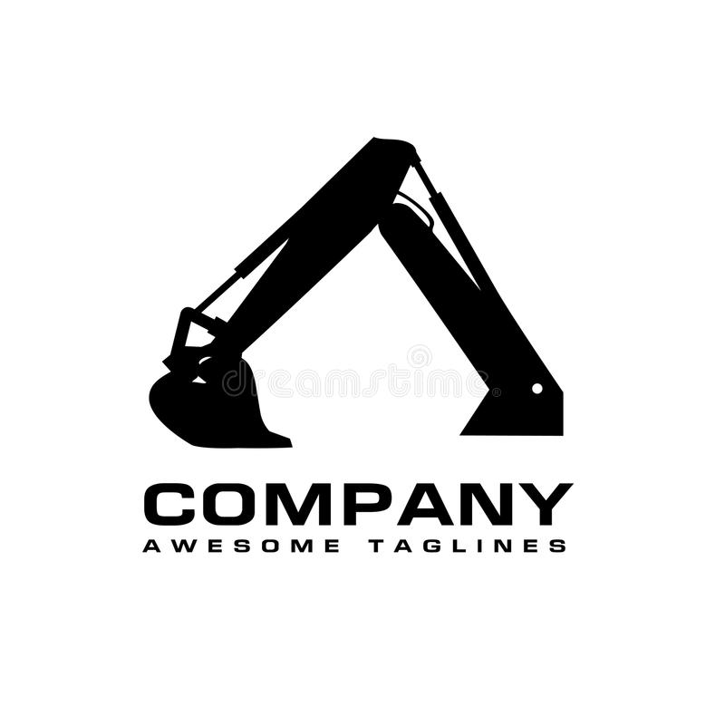 Excavators Construction machinery logo. Hydraulic mining excavator vector logo,. Heavy construction equipment symbol with boom dipper and bucket. Construction royalty free illustration