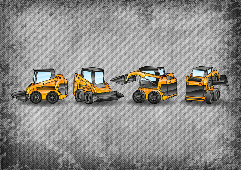 Excavators. Four small excavators on the grey texture royalty free illustration