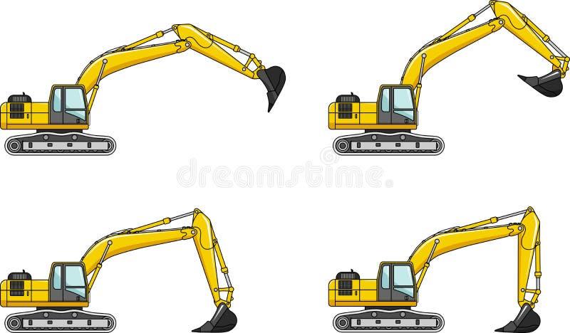 Excavators. Heavy construction machines. Detailed illustration of excavators, heavy equipment and machinery stock illustration