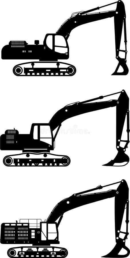 Excavators. Heavy construction machines. Vector. Detailed illustration of excavators, heavy equipment and machinery stock illustration