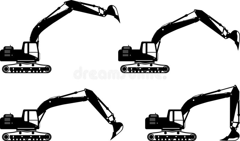 Excavators. Heavy construction machines. Vector. Detailed illustration of excavators, heavy equipment and machinery royalty free illustration